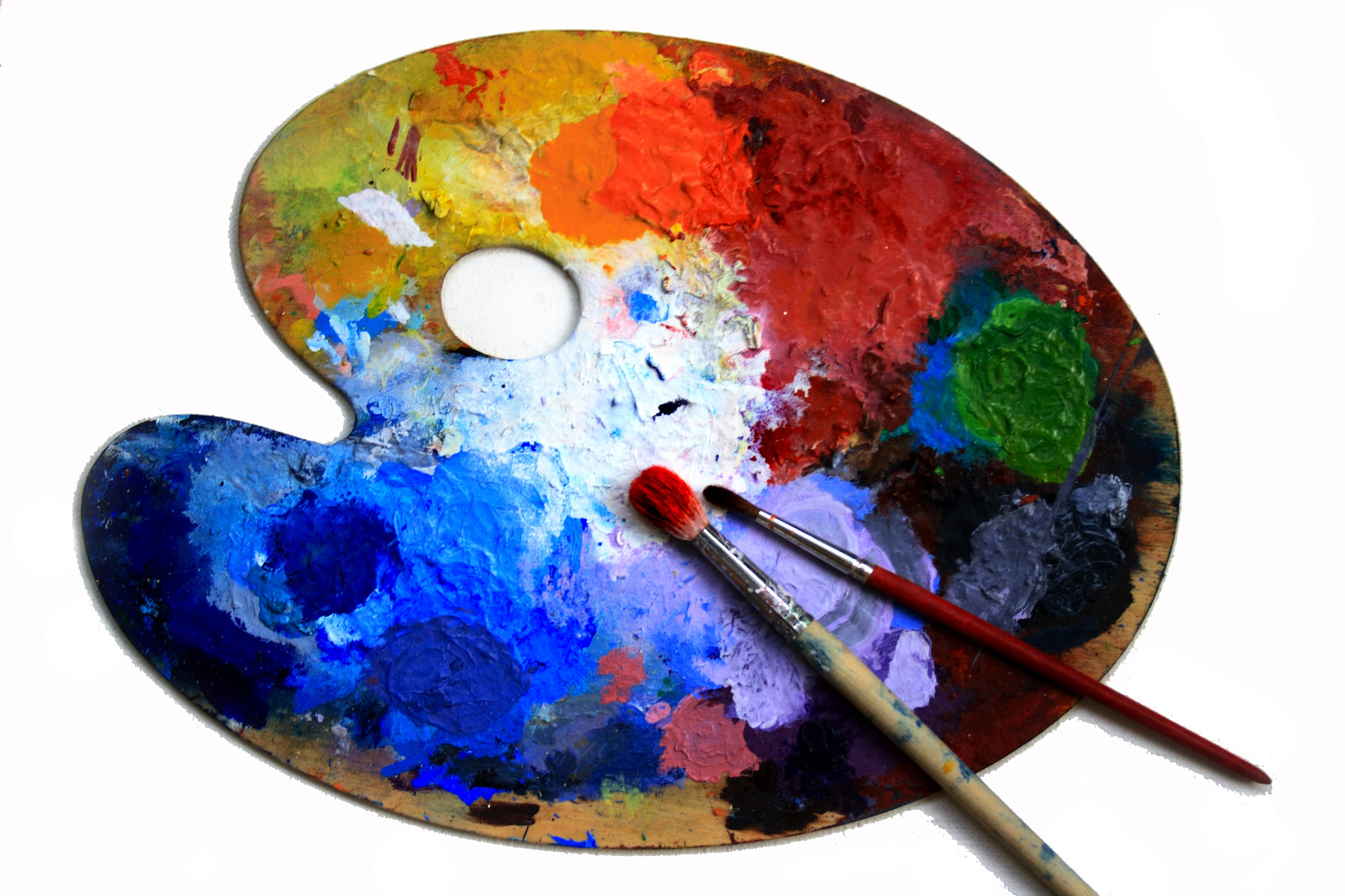 Artist's paint pallet and brushes.